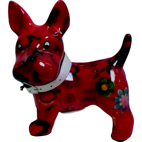 Boomer The Dog Red Floral Ceramic Money Box